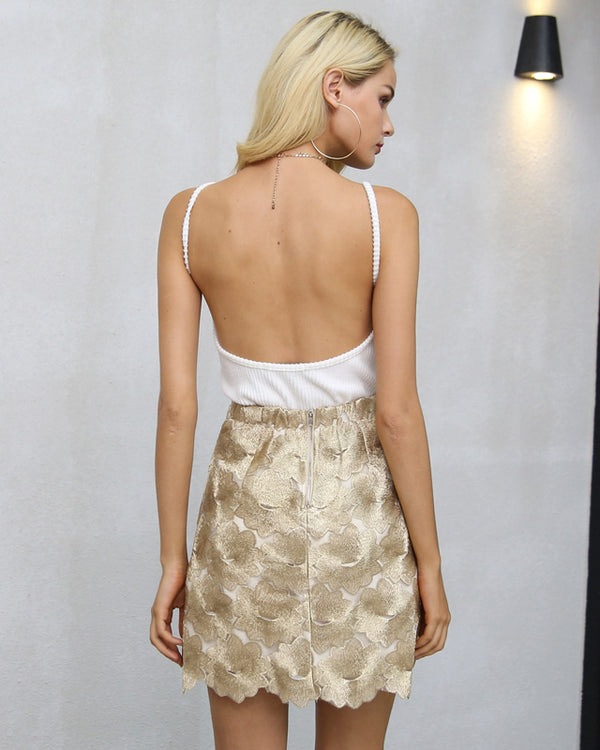 Persia Embroidery High Waisted Skirt - Gold | Flirtyfull.com