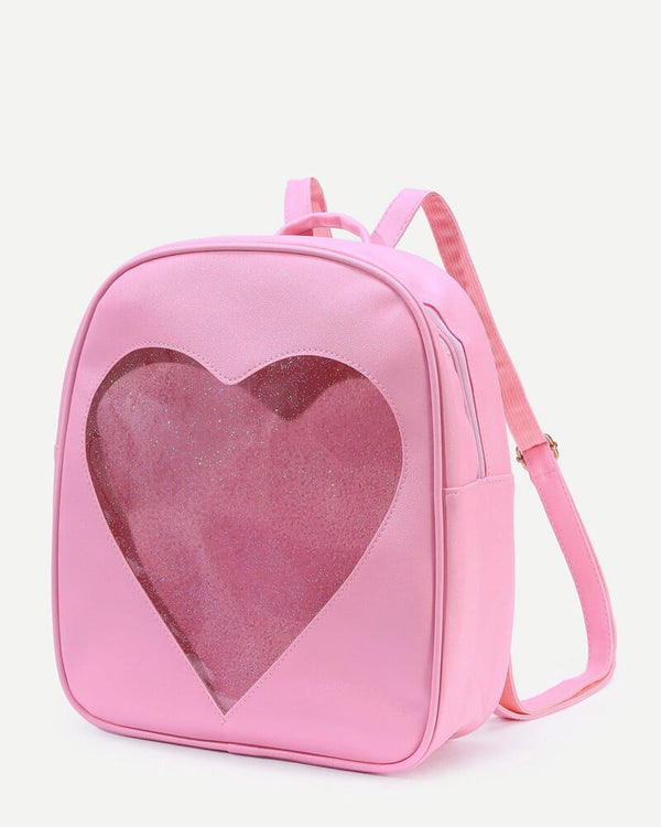 Heart Shape Glitter Transparent Harajuku Kawaii Backpack - Pink | Flirtyfull.com