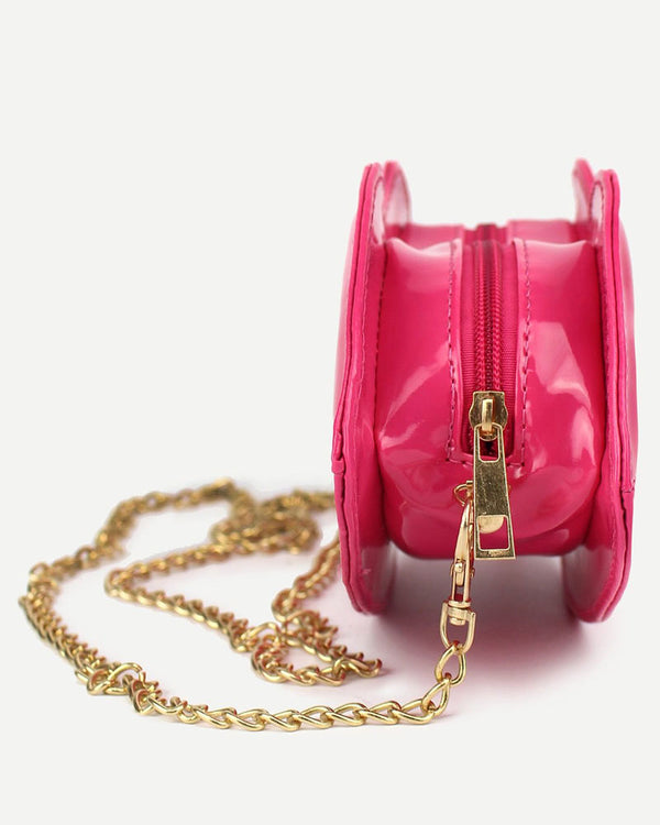 Lips Shinny PU Leather Crossbody Shoulder Kawaii Bag - Pink | Flirtyfull.com