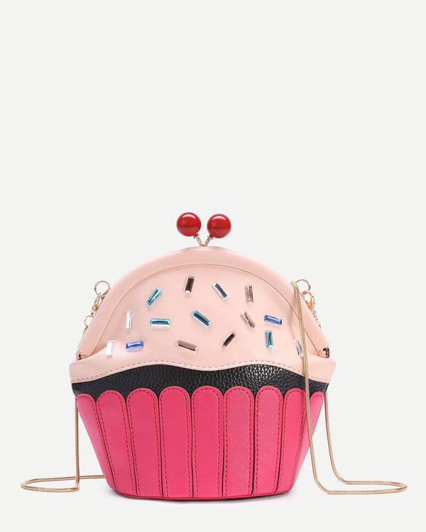 Mini Cupcake Crossbody Messenger Bag - Pink | Flirtyfull.com