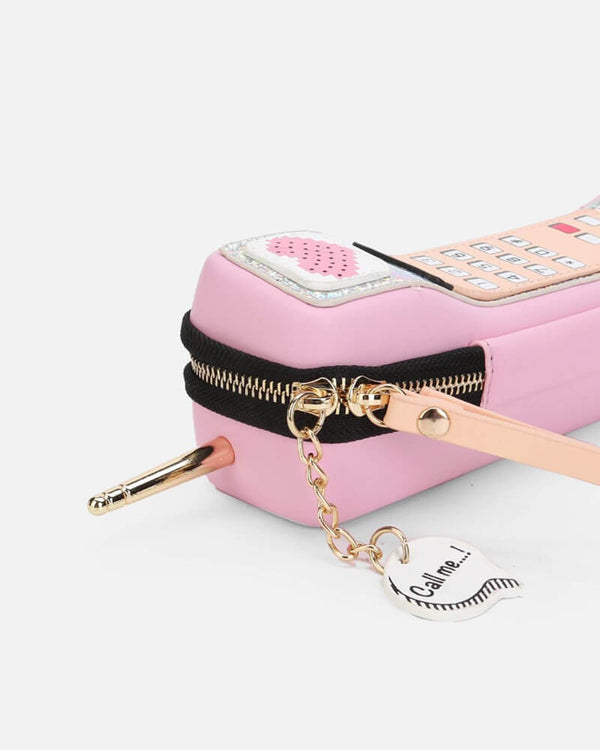 Retro Phone Kawaii Novelty Bag - Pink | Flirtyfull.com