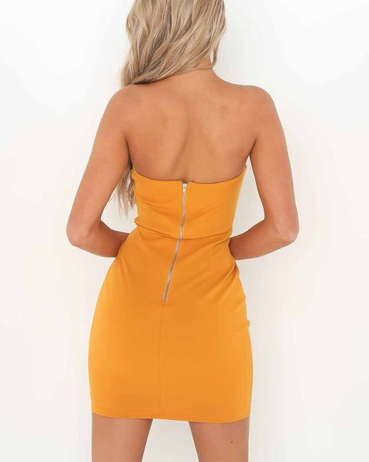 Pocahontas Strapless Lace Up Dress - Mustard | Flirtyfull.com