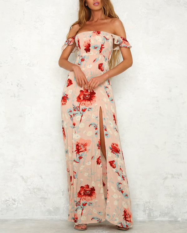 Reach for the Stars Floral Off the Shoulder Maxi Dress - Peach | Flirtyfull.com