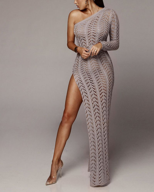 Flirtyfull Return to Innocence Grey One Shoulder Knitted Dress