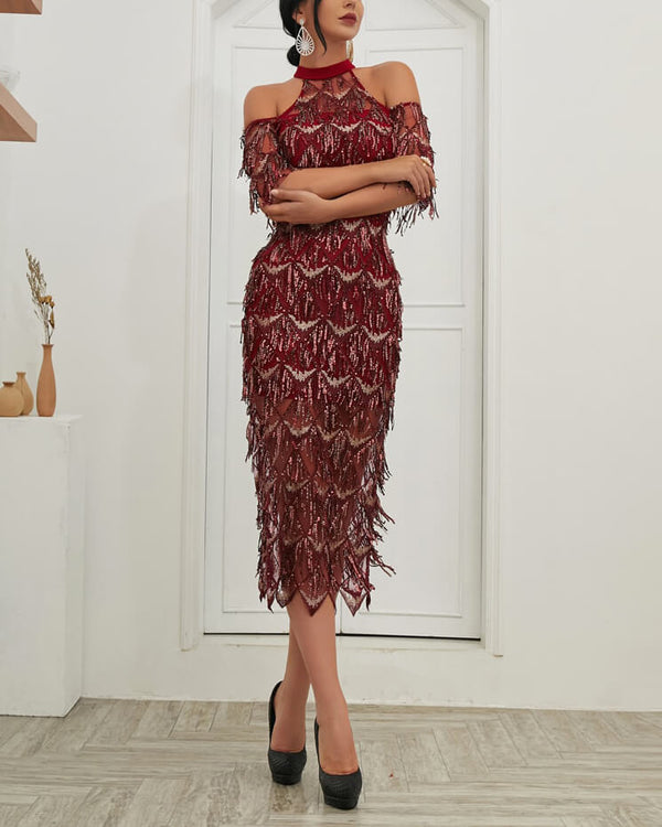 Flirtyfull Revelry Burgundy High neck Cold Shoulder Tassel Elegant Dress