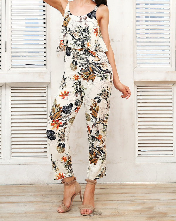 Rio Floral Tropical Bodycon Jumpsuit | Flirtyfull.com