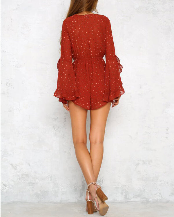 Flirtyfull Roulette Polka Dot Red Brick Playsuit