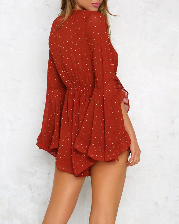 Roulette Polka Dot Playsuit - Red Brown | Flirtyfull.com