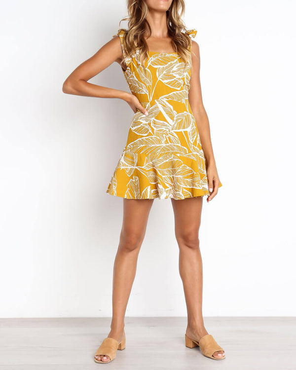 Roxy Foxy Tie Up Strap Tropical Dress - Yellow | Flirtyfull.com