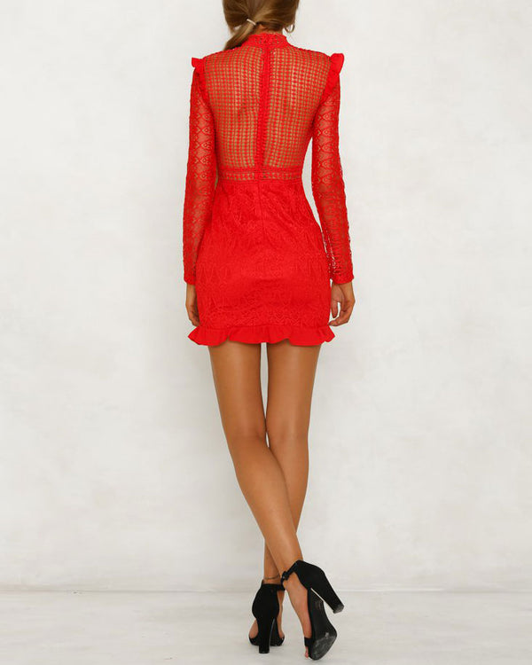 Rule the Night Hollow Out Bodycon Dress - Red | Flirtyfull.com
