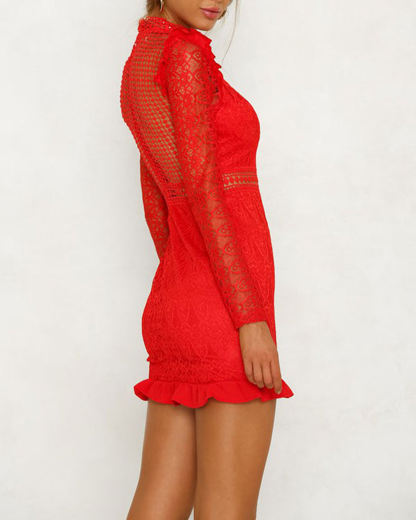 Flirtyfull Rule the Night Red Hollow Out Bodycon Dress