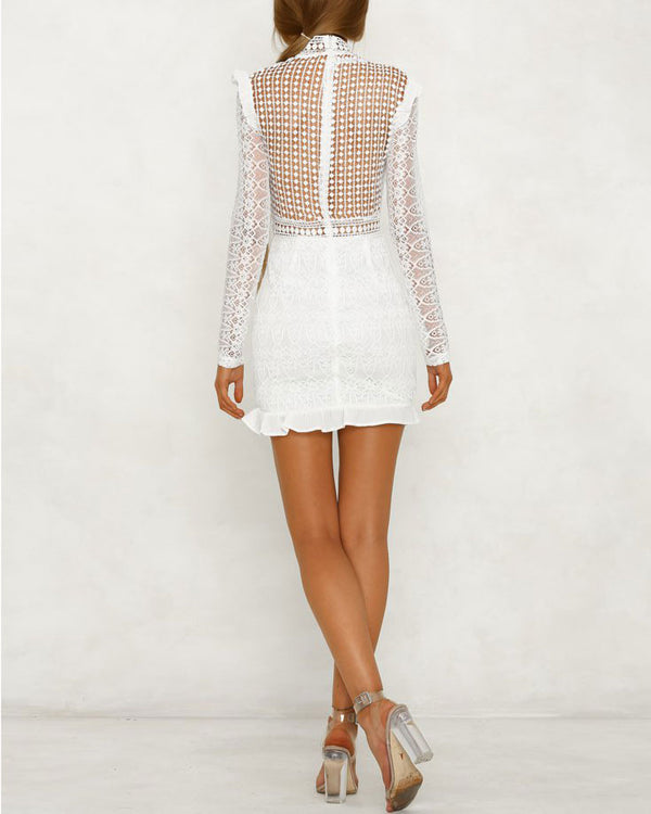 Rule the Night Hollow Out Bodycon Dress - White | Flirtyfull.com