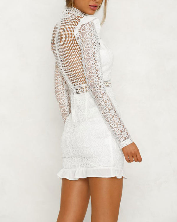 Flirtyfull Rule the Night White Hollow Out Bodycon Dress