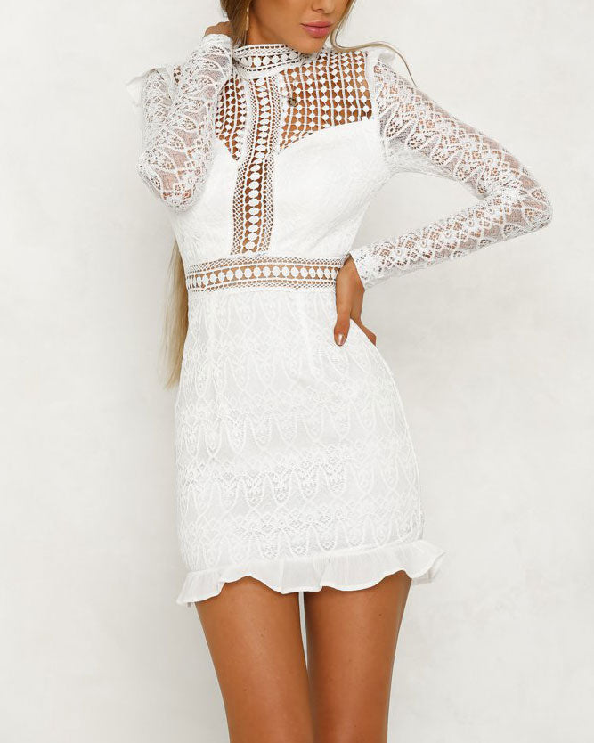 c920b8a2c262e Rule the Night Hollow Out Bodycon Dress White | Flirtyfull