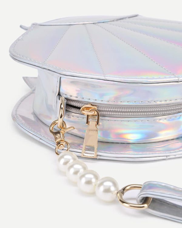 Shell Shaped Kawaii Bag With Pearl Chain - Silver | Flirtyfull.com
