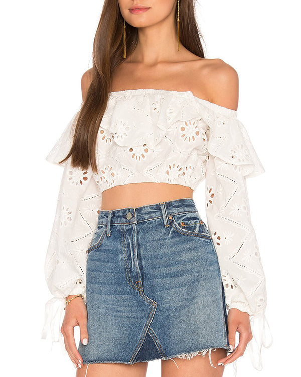 Flirtyfull Sammy Sweetheart Hollow Out White Crop Top