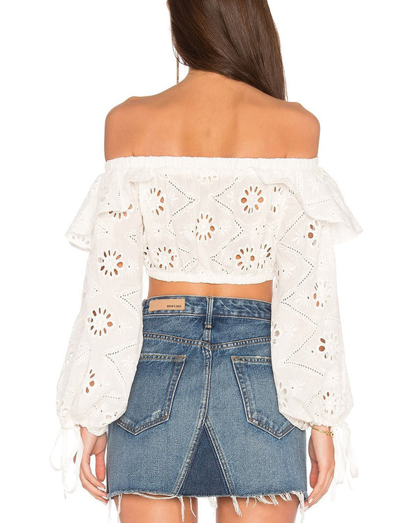 Sammy Sweetheart Hollow Out Crop Top - White | Flirtyfull.com