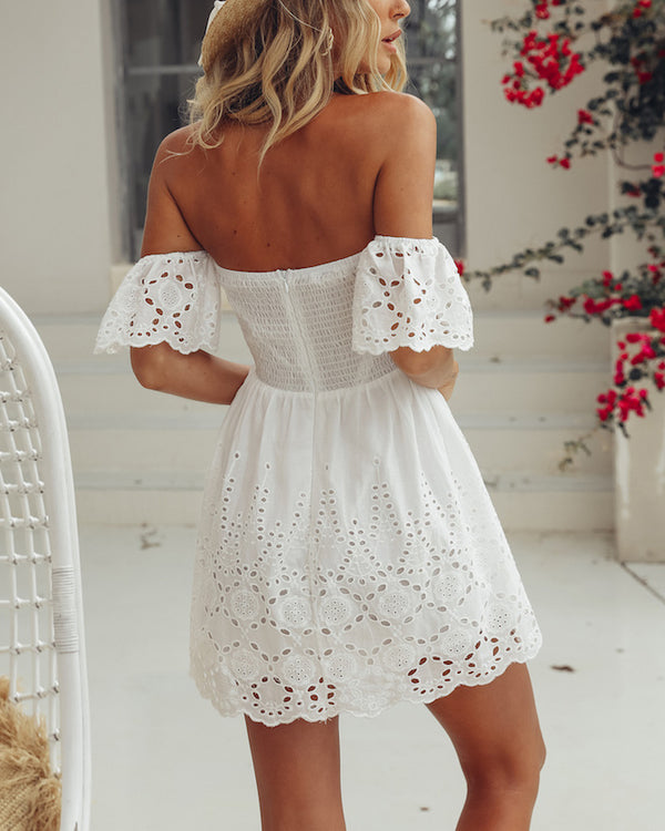 Santorini Hollow Out Summer Mini Dress - White | Flirtyfull.com