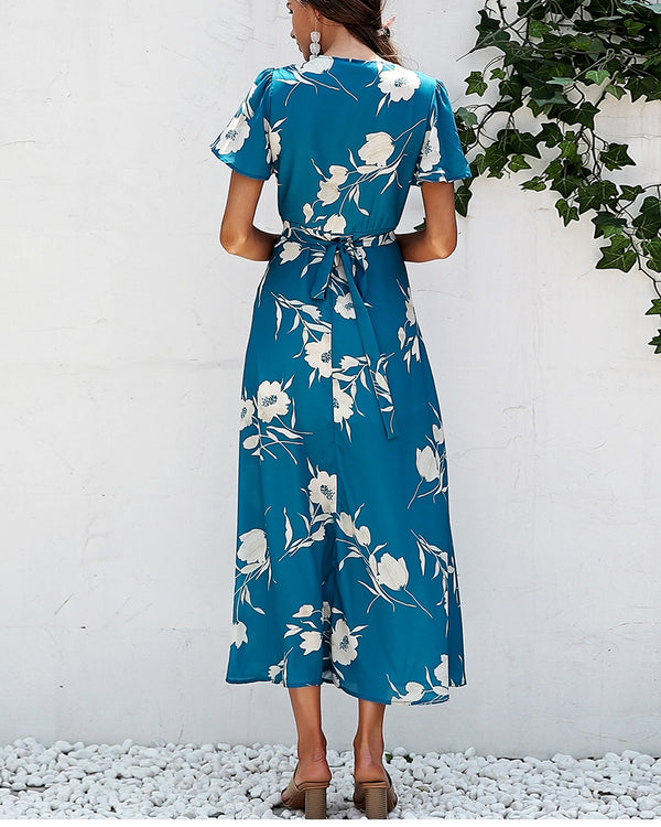 Say I Do Boho Floral Wrap Dress - Turquoise | Flirtyfull.com