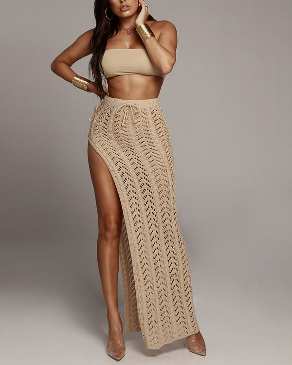 Seychelles High Slit Maxi Crochet Knitted Skirt -  Tan | Flirtyfull.com