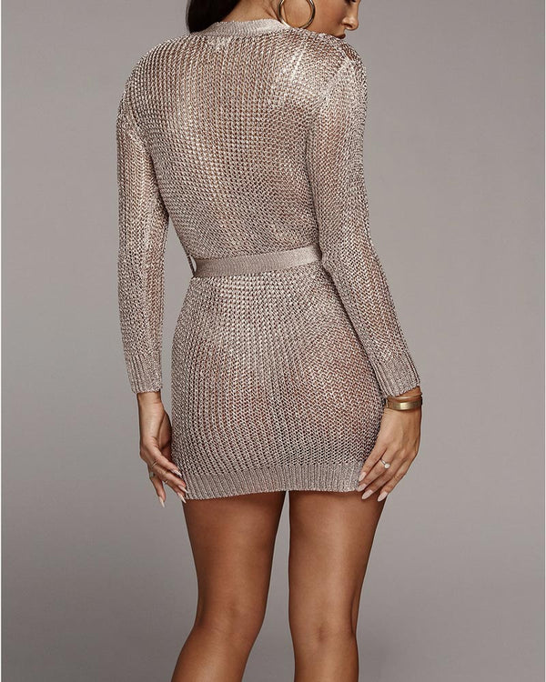 She Wolf Knitted Cardigan Dress - Silver | Flirtyfull.com