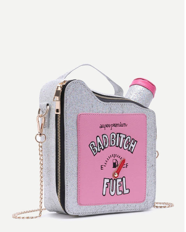 Gas Fuel Tank Shape Novelty Handbag - Silver | Flirtyfull.com