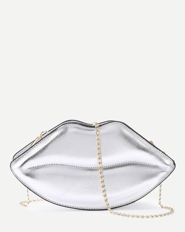 Lips Shape Crossbody Messenger Bag - Silver | Flirtyfull.com
