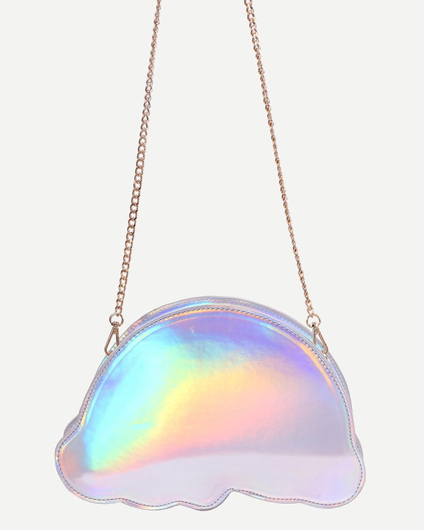 Rainbow Crossbody Bag with Chain - Silver | Flirtyfull.com