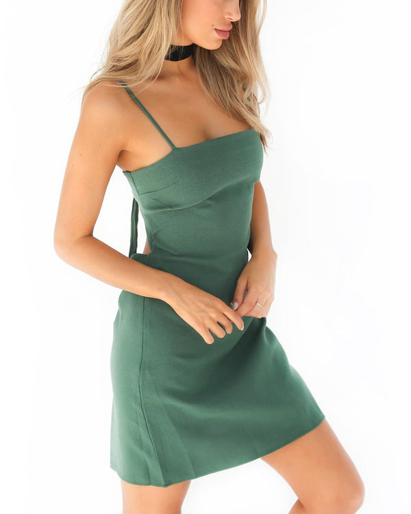 Sinclair Spaghetti Straps TIe Up Mini Dress - Green | Flirtyfull.com