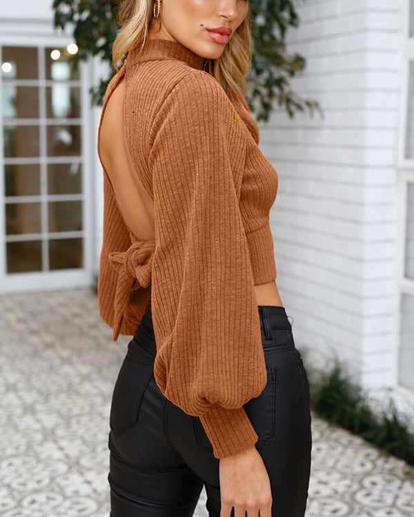 Flirtyfull Sloan Backless Lantern Sleeve Tan Sweater | Flirtyfull.com