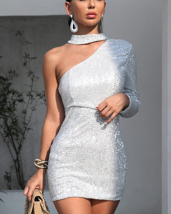 Solstice Sequined One Shoulder Mini Dress - Silver