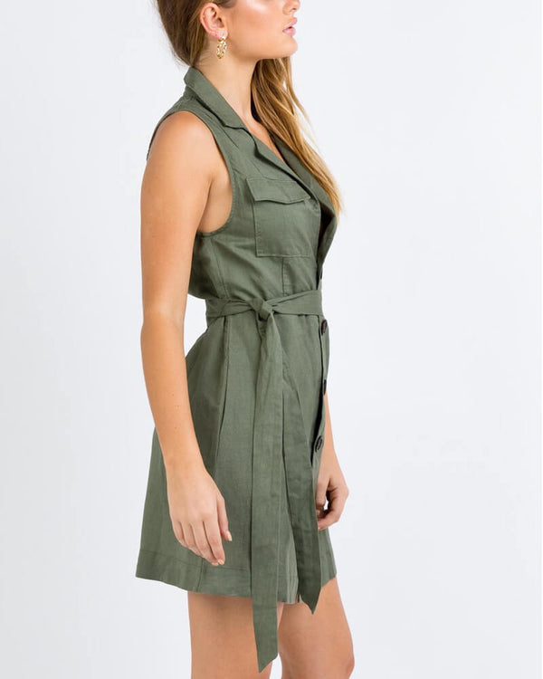 Sorbet Linen Belted Mini Dress - Army Green | Flirtyfull.com