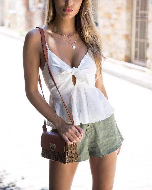 South Side Peplum Cami Top - White | Flirtyfull.com