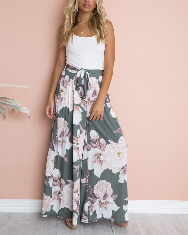 Stay Chic Bohemian Floral Wide Leg Pants - Grey Green | Flirtyfull.com