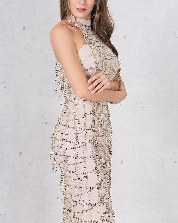 Stay Fabulous Formal Evening Dress - Beige | Flirtyfull.com