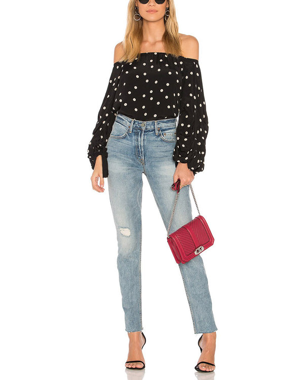Steffie Polka Dot Off the Shoulder Blouse - Black | Flirtyfull.com