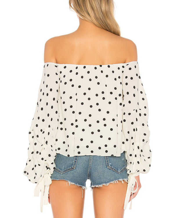 Steffie Polka Dot Off the Shoulder Blouse - White | Flirtyfull.com