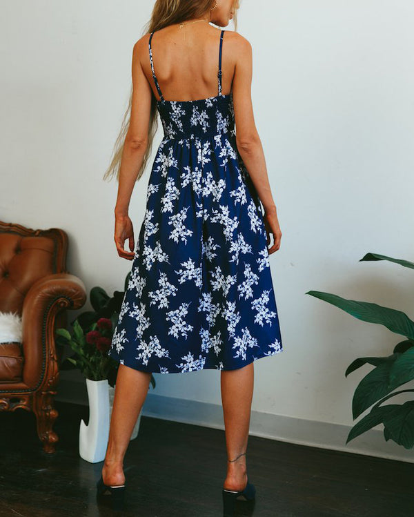 Flirtyfull Stella Floral Cut Out Summer Midi Navy Dress | Flirtyfull.com