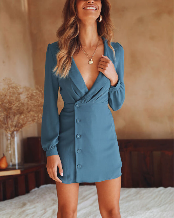Flirtyfull Stormi Blue Blazer Bodycon Dress | Flirtyfull.com