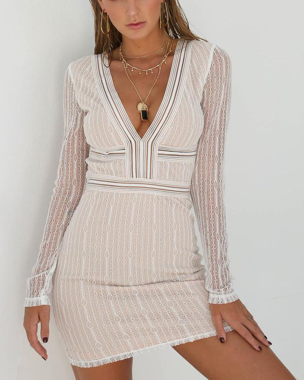Sumatra Sexy Deep V Neck Mini Dress - White | Flirtyfull.com