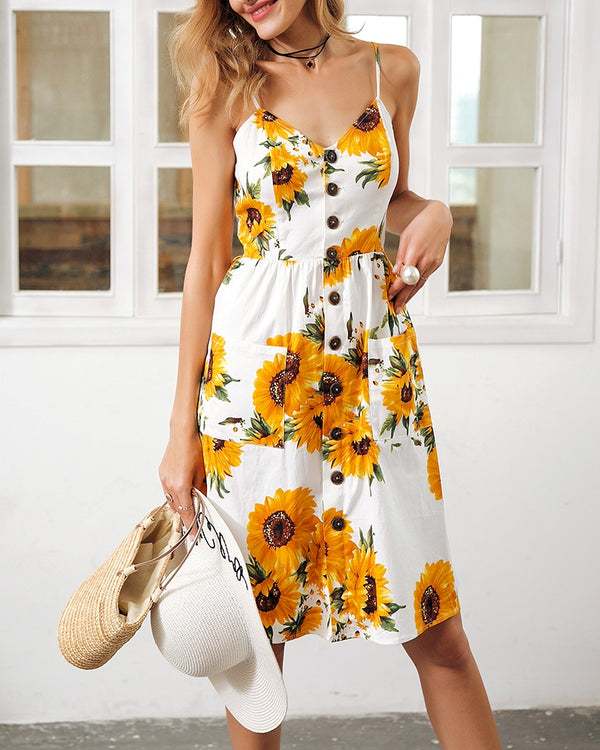 Sunflower Casual Summer Dress with Pockets - White | Flirtyfull.com