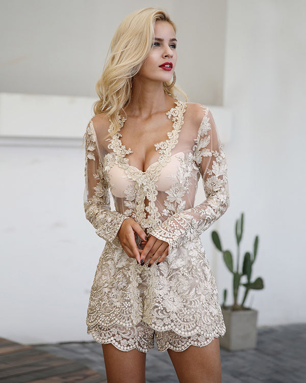 Sunset Embroidery Formal Two Pieces Set - Gold | Flirtyfull.com