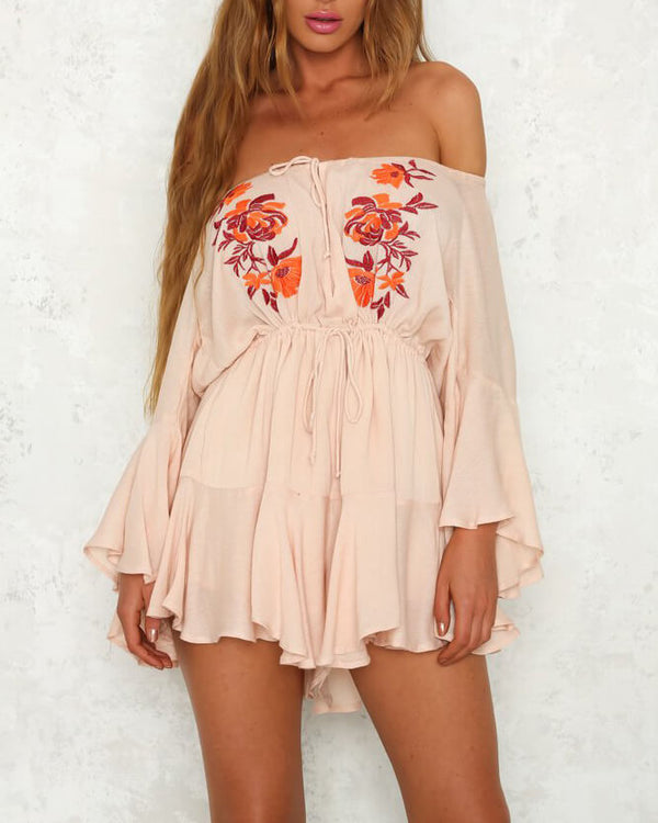 Supergirl Off the Shoulder Floral Embroidery Playsuit - Orange | Flirtyfull.com