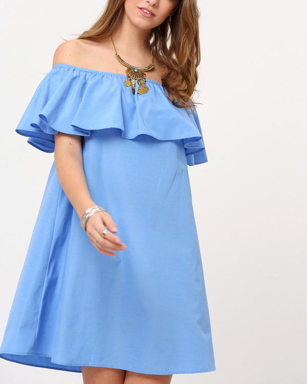 Flirtyfull Supergirl Ruffle Off the Shoulder Blue Dress | Flirtyfull.com
