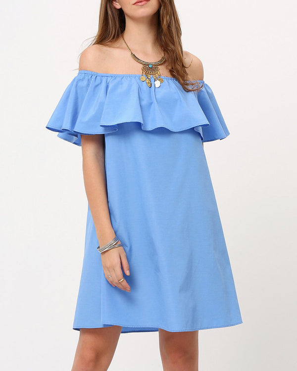 Supergirl Ruffle Off the Shoulder Dress - Blue | Flirtyfull.com