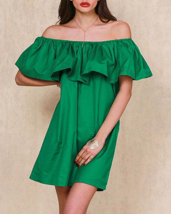Supergirl Ruffle Off the Shoulder Dress - Green | Flirtyfull.com