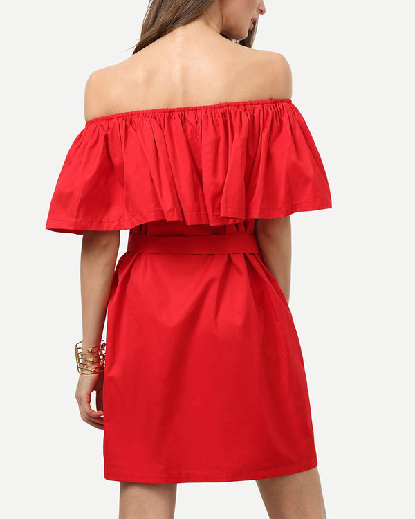Supergirl Ruffle Off the Shoulder Dress - Red | Flirtyfull.com