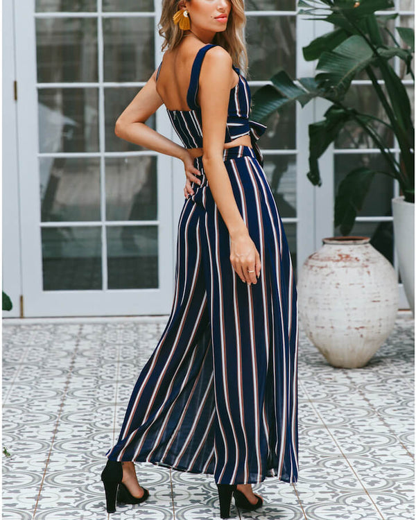 Suspicious Boho Chiffon Striped Two Pieces Set (Crop Top+ Pants)
