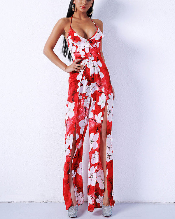 Taipei Floral Tropical Jumpsuit with Split - Red | Flirtyfull.com