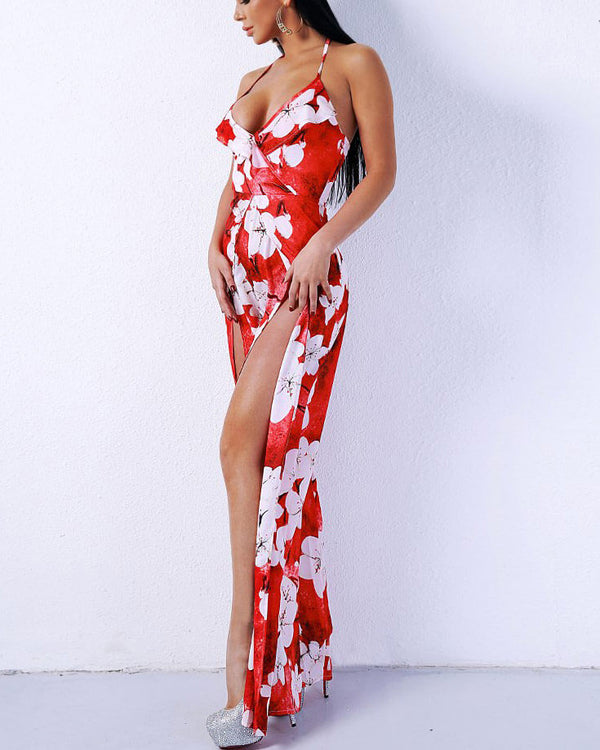 Flirtyfull Taipei Red Floral Tropical Jumpsuit with Split | Flirtyfull.com